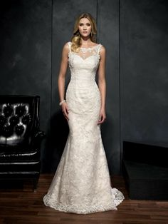 Style #1512 Point D'esprit All-over Lace with illusion build-up and Flocked Dotted Tulle train I -- Breathtaking