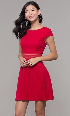 f2449cbe6d Cap-Sleeve Short Holiday Party Dress Formal Dresses With Sleeves