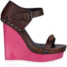 Bottega Veneta Contrast-wedge leather sandals ($330) ❤ liked on Polyvore
