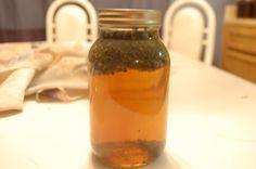 Immume Boosting Tea      2 tbsp. nettles     2 tbsp. oatstraw     1 tbsp. elderberries     1 tsp. echinacea     1 slice fresh ginger     1 quart boiling water     Raw honey to taste