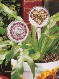 Express appreciation to a caring nurse with a cross-stitched insignia. Free patterns