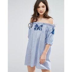 QED London Off Shoulder Stripe Dress With Embroidery (350 ZAR) ❤ liked on Polyvore featuring dresses, blue, stretchy dresses, blue dress, embroidery dresses, tall dresses and off shoulder dress