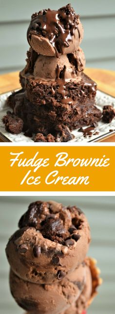 Rich homemade chocolate ice cream recipe with chunks of gooey fudge brownies and chocolate chips.