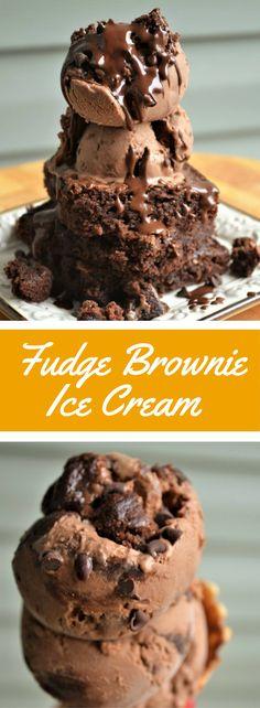 Rich homemade chocolate ice cream recipe with chunks of gooey fudge brownies and chocolate chips!