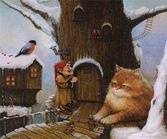 Illustration by Alexander Maskaev Fairy Land, Fairy Tales, Kobold, Legends And Myths, Photo D Art, Graphics Fairy, Animation, Magical Creatures, Christmas Cats