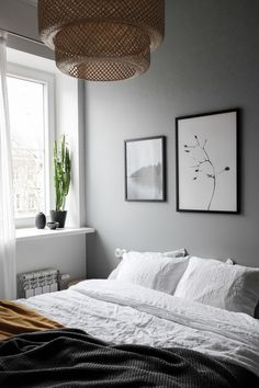 Scandinavian style bedroom, linen bedding, Sinnerlig pendant. Styling and photography Anu Tammiste