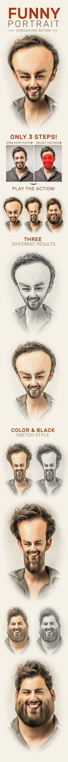 Funny Portrait Caricature Action - Photo Effects Actions