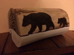 Bear and cub.  Wood burning.  Pyrography. Wood craft.