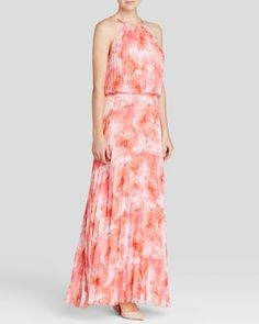 AQUA Gown - Pleated Blouson Print | Bloomingdale's