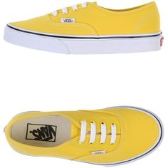 Vans Sneakers ($102) ❤ liked on Polyvore featuring shoes, sneakers, zapatillas, yellow, yellow shoes, rubber sole shoes, vans trainers, round cap and vans shoes