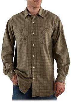 Carhartt Mens S254 Long Sleeve Lightweight Plaid Shirt - Dark Coffee | Buy Now at camouflage.ca