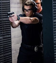 Alex Russell: Not wearing the SWAT uniform doesn't mean not tearing it up in the firing range. Was that enough double negative talk? Swat, Beautiful Boys, Pretty Boys, Alex Russell, Double Negative, Tv Series 2017, Police, Hawaii Five O, How To Look Handsome