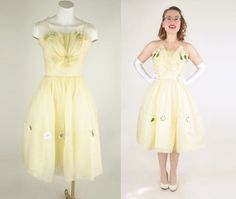 Early 60s Yellow Organza Party Prom Dress with by denisebrain, $98.00