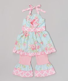 Look at this #zulilyfind! Pink & Blue Bunny Halter Top & Pants - Infant, Toddler & Girls by AnnLoren #zulilyfinds