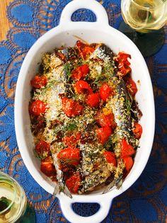 秋刀魚とトマトのハーブ焼き