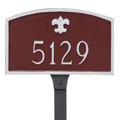 Montague Metal Products Fleur de Lis Prestige Arch Petite Address Plaque Finish: Taupe / White