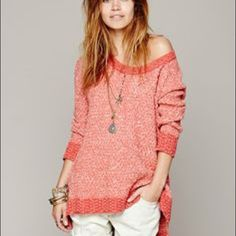 Free People Honeycomb Sweater This Free People sweater is in great condition and has been worn only a few time. The color of the sweater is like a dark coral color and is a size medium. Free People Sweaters