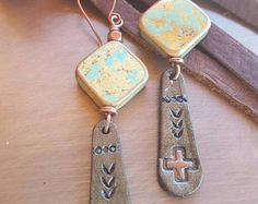 Turquoise and Leather Earrings - Hand Stamped Leather - Cross- Bronze - Cowgirl Jewelry - Leather Earrings by Heart of a Cowgirl