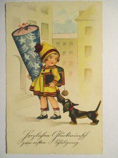 alte Ansichtskarte Fritz Baumgarten ???? Schulanfang,um 1930 geschrieben | eBay