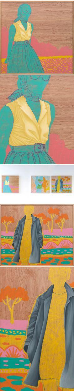 painting on wood panel by anne-sophie adelys. Idea diseño moda presentación