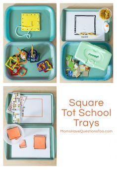 Square Tot School Trays Ideas - Moms Have Questions Too: I have also pinned a bunch of these type of activities under Education:  Math or Education: Colors.  Moms have questions too is a great blog to follow!