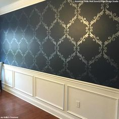 The Acanthus Trellis Damask Stencil is most of our most popular stencil designs because it is the perfect pattern for any DIY wall decor for painting floors.