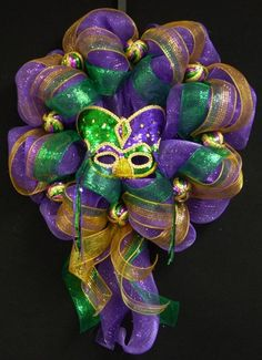 Poly Mesh Mardi Gras Wreath