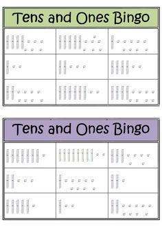 Down Under Teacher: Tens and Ones Bingo Game