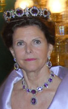 Queen Silvia of Sweden wearing the amethyst tiara, ear pendants and necklace from the Napoleonic Amethyst Parure, which is also referred to as 'Queen Josephine's Amethyst Tiara'