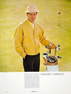 1963 Ad Pendleton Golfer Cardigan Sweater Golf Bag Clubs Golfing 60s Fashion Men