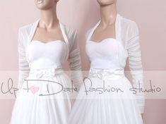 Custom color wedding cover up/bridal Tulle bolero/tulle jacket/shrug/wrap/bolero with long sleeves/stretchy tulle Bridal Bolero, Bridal Cape, Wedding Bolero, Tea Length Wedding Dress, Long Sleeve Wedding, Special Dresses, Formal Dresses, Wedding Dresses, White Tulle