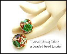 Tutorial  Tumbling Dice Beaded Beads  peyote by TheBeadedBead, $12.00