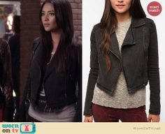 Emily's black denim jacket, white graphic tee and grey bag on Pretty Little Liars.  Outfit details: http://wornontv.net/12721/
