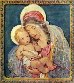 Jessie Wilcox Smith, (1863 - 1935):   La Virgen con el Niño.