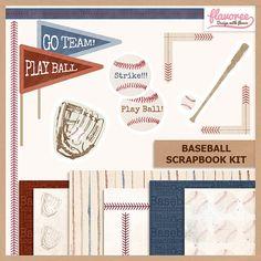 BASEBALL Digital Scrapbook Kit -  Digital Paper Pack by Flavoree, $6.00