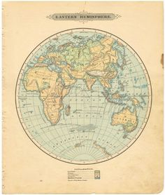 Antique WORLD Map - 1885 Eastern Hemisphere - DIGITAL DOWNLOAD - Buy 2 Digital Images/Get 1 Free