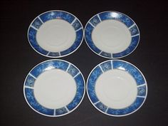 GIBSON EVERYDAY MARBLE CLASSIC BLUE SAUCERS  - SET OF 4 #Gibson