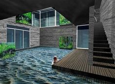 """underground house with pool--I'm not a big """"dream mansion"""" pinner but this is pretty damn cool. underground house with pool--I'm not a big dream mansion pinner but this is pretty damn cool. Home Design, Design Design, Design Ideas, Future House, My House, Earth Sheltered Homes, Earthship Home, Casas The Sims 4, Casa Patio"""