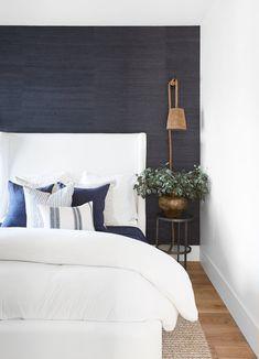 Home Decor Scandinavian Decor Scandinavian Home Bedroom, Master Bedroom, Bedroom Decor, Newport Beach, Accent Wallpaper, Navy Wallpaper, Cheap Dorm Decor, Decor Scandinavian, Decor Inspiration