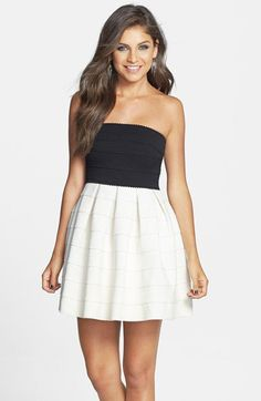 Black and White Short Strapless Dress at PromGirl.com ...