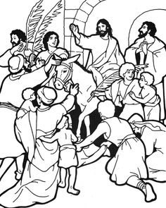 People Seeing Jesus Christ Triumphal Entry Into Jerusalem On Donkey Christian Bible Palm Sunday Coloring Page