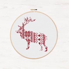 Nordic Pattern Christmas Reindeer Cross Stitch Pattern Printable Deer Instant Download PDF Scandinavian Modern Cross Stitch Holiday DIY Gift