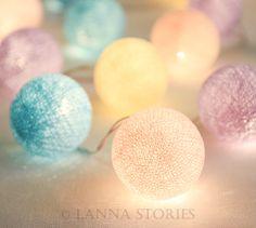 Little Pony Pastel Cotton Ball Patio Party String Lights – Fairy, Wedding, Decor