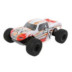 ﹩129.99. AMP Monster Truck 1:10 2WD Monster Truck White/Orange Ready to Run ECX 03028T1    Type - Monster Truck, Scale - 1:10, Fuel Type - Electric, Required Assembly - Ready to Go/RTR/RTF (All included), Color - Orange White, Product Line - ECX, UPC - 605482596043