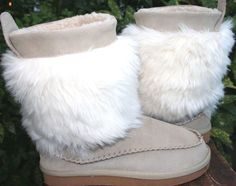 Rampage  Westie Tan Beige Suede Leather Faux Fur Women Boots 7 #Rampage #MidCalfBoots