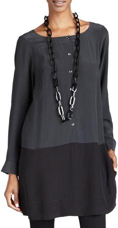 Eileen Fisher Silk Colorblock Tunic/Dress & Viscose Jersey Leggings, Women's