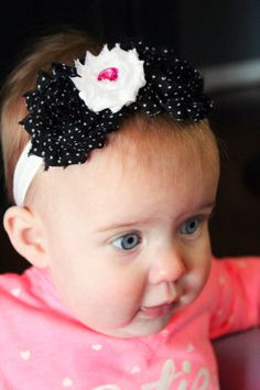 Black dot flower headband with pink jewel accent by ThePetuniaTree