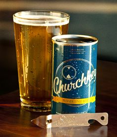 A flattop with an opener in every six pack!  Churchkey is a pilsner beer that comes in an old school steel flattop can. The project was initiated by Adrien Grenier (Entourage) and Justin Hawkins (Nike designer).