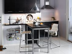 small kitchen design with black white theme furniture also minimalist table bar stools Bar Table Ikea, Tall Kitchen Table, Kitchen Table Small Space, Ikea Bar, Stools For Kitchen Island, Small Dining, Bar Tables, Dining Table, Dining Rooms