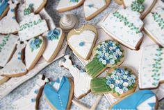 Galletas boda en azul